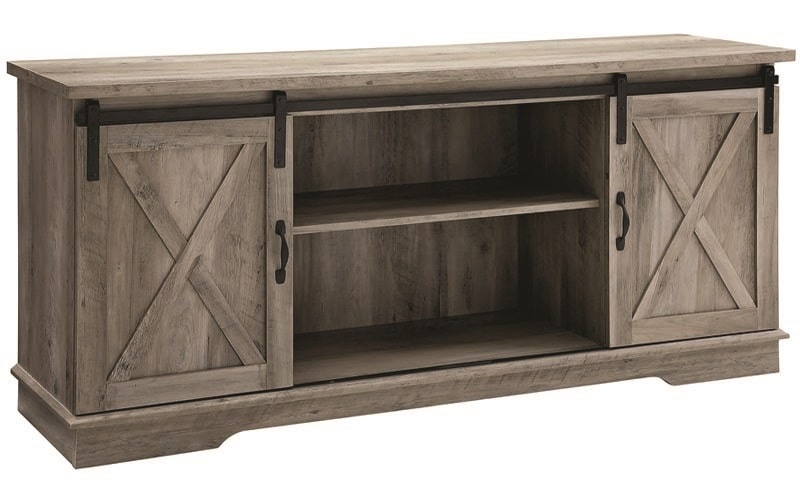 brown barn door tv stand